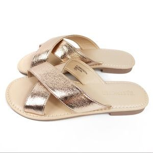 Restricted NEW Faux Suede Rose Gold Sandals Size 8